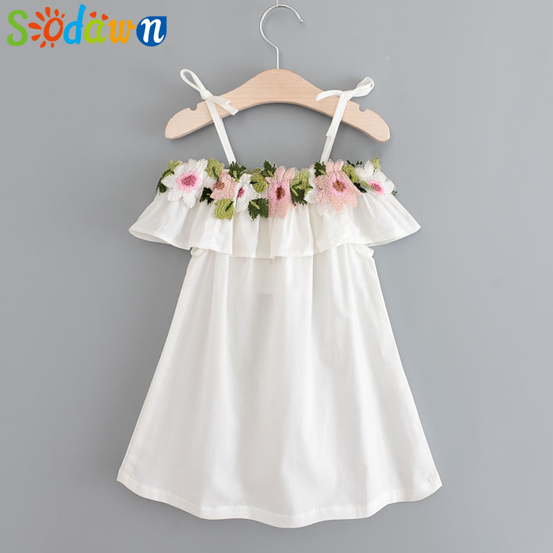 Sodawn 2018 New Autumn Baby Girls Clothing Fashion Brand Shoulderless Embroidery Sling Top Children Clothing Mini Dress 3-7Y