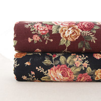 Japan Style Cotton Linen Fabric Vintage Floral Prints Sewing Fabric For Handbags Doll Dress 45 110cm