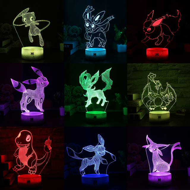 New Pokemon Umbreon Sylveon Cartoon Lamp Led Cool 7color Night Light Children S Bedroom
