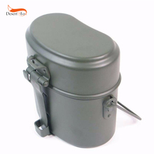Wwii Duitsland Militaire Groen 3Pcs In 1 Camping Cookware Cook Set Wandelen Survival Bento Lunchboxen Pot/Bowl