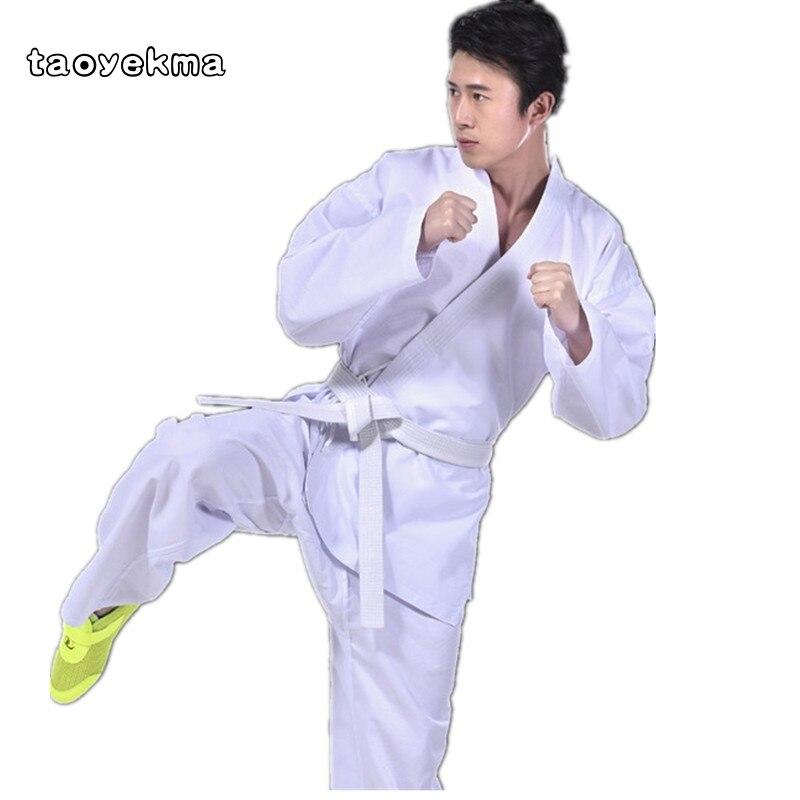 Blanc nouveau adulte karaté uniforme respirant dobok taekwondo ceinture karaté costume vêtements pour enfants hommes blanc uniforme livraison gratuite T17