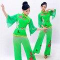 Envío libre de Las Mujeres de Baile Cuadrados Chino Antiguo Traje Nacional Señoras Chino Tradicional Folk Dance verde
