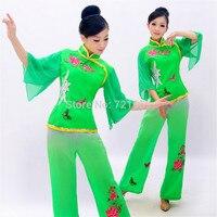 Envío libre de Las Mujeres de Baile Cuadrados Yang ge Chino Antiguo Traje Nacional Yanggo Señoras Chino Tradicional Folk Dance verde