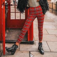 Artsnie уличная одежда, красные клетчатые женские штаны, весна, высокая талия, молния, обтягивающие повседневные леггинсы, сексуальные узкие брюки, женские брюки