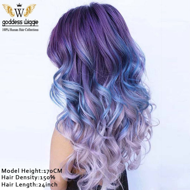 7A Long Remi Hair Ombre Purple Root Human Hair Wigs For Women Fashion  Hairstyle Pastel Pink edf3c0703