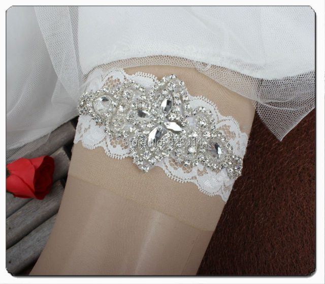 Novo Design de Luxo Cristal Strass Applique Casamento Do Laço Liga Artesanal Frete Grátis