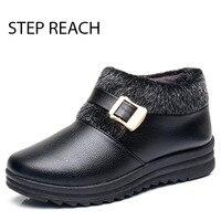 STEPREACH Brand Shoes Woman Snow Boots Black Short Plush Round Toea Dult Ankle Boots For Women