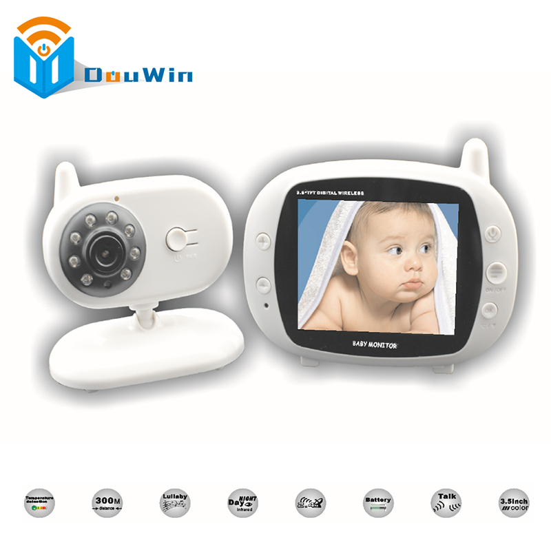 Wireless Video Baby Monitor 3.5 Inch Color Security Camera Baby Nanny NightVision IR LED Intercom Lullaby Temperature Babysitter wireless video baby monitor 2 4 inch color security camera 2 way talk nightvision ir led temperature monitoring with 8 lullaby