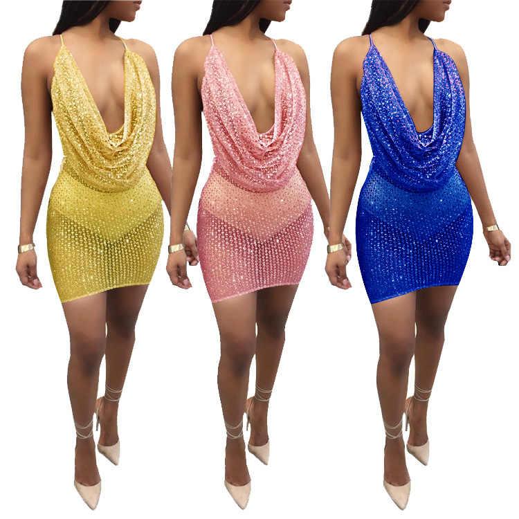 1899ec06c4261 ... Hot Drape Cowl Neck Cross Back Bandage Dress Sexy Sequined Perspective Backless  Mini Club Dress Night