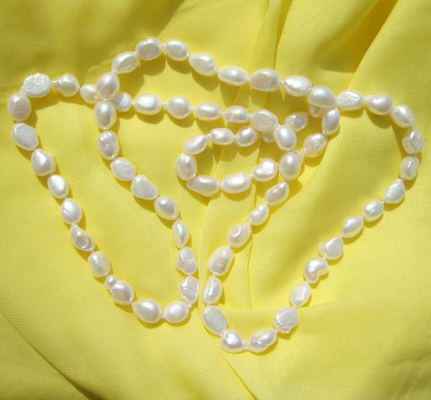 Natural Pearl Jewelry White Color Baroque Rice Freshwater Pearl Necklace 90cm Long 7-8mm Handmade Fashion Lady's Jewelry