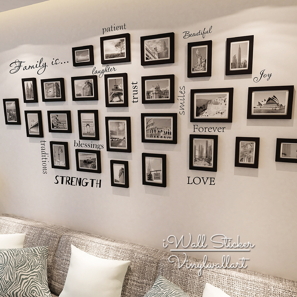 Family Quote Wall Sticker Love Trust Laughter Smile Home Decal Photo Easy Art Cut Vinyl Q144