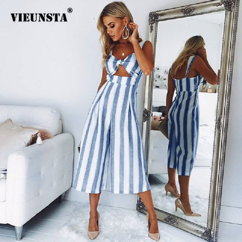 099dd19bc0f064 VIEUNSTA Sexy Bowknot Backless Striped Jumpsuits Women Wide Leg Pant  Elegant Spaghetti Strap Romper Female Summer Beach Overalls-in Jumpsuits  from Women's ...