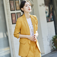 Casual Solid color 2 Piece Set Women jacket skirt suits Front split Elastic High waist skirt Female 7 point sleeve lady uniform