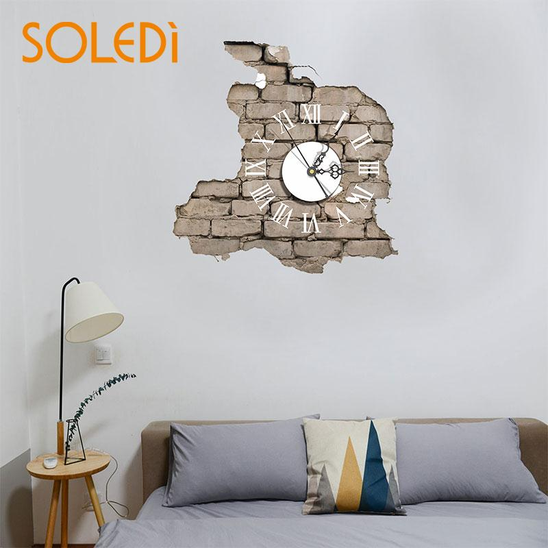 1set 3d Wall Clock Wall Stickers Removable Pvc Tv Background Quartz Wall Clock Sticker Self Adhesive Office Cool Wall Decal