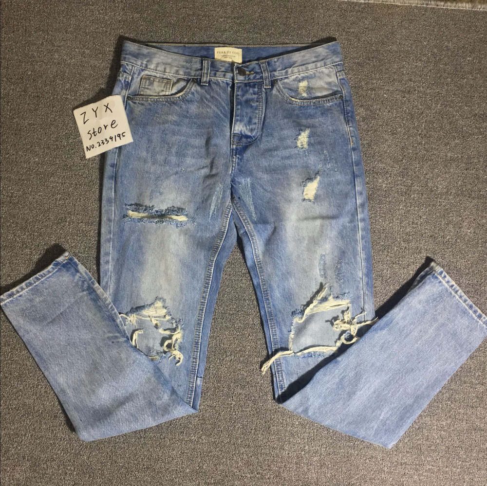 2017 Brand Fear Of God RIRI ankle zipper ripped jeans Justin Bieber skinny masticate men destoryed jeans streetwear Kanye West men jeans fear of god ripped blue mens holes leisure straight denim designer mens jeans streetwear clothing pant oversize 28 40
