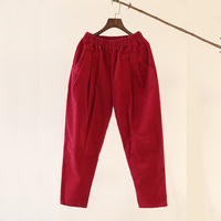 Solid Corduroy Cotton Loose Casual Women Pants Elastic waist High quality Pants Brand Corduroy Trousers Femme C047