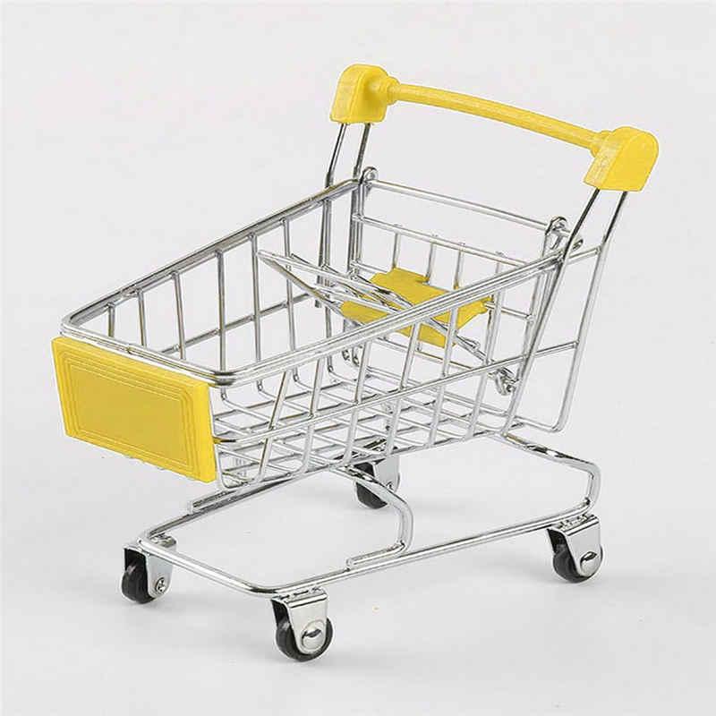 Criativo Mini carrinho de Compras Carrinho de Supermercado de Metal Simulação Brinquedo do Miúdo