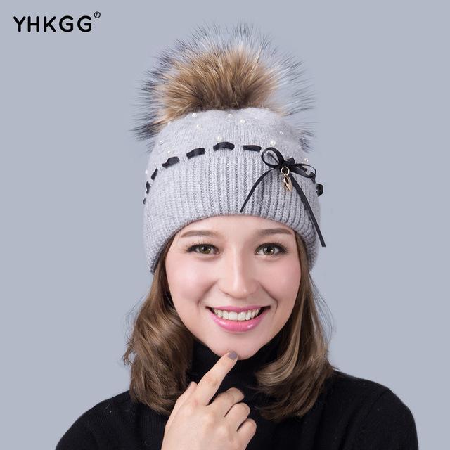 2016 mais recente moda elegante Fan ladies Inverno Quente gorros cap Chapéu de Malha de Cashmere marca nova fêmea grossa