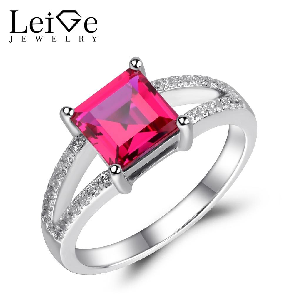 Здесь можно купить  Leige Jewelry Lab Ruby Ring Red Gemstone Engagement Promise Rings for Women Silver 925 Fine Jewelry Square Cut Double Band  Ювелирные изделия и часы