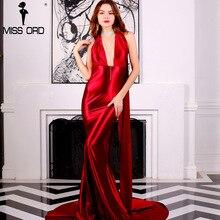 Бесплатная доставка 2018 Sexy v-образным вырезом без рукавов длинное платье FT5035