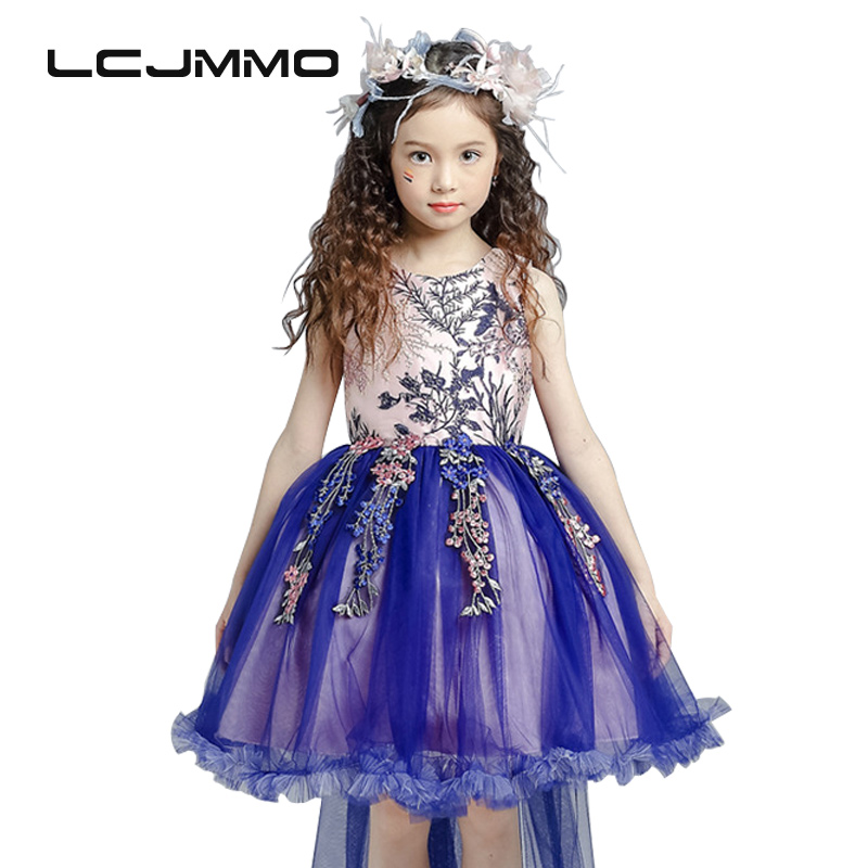 lememogo High-quality Wedding Dress Girls Party Princess Trailing Dress Kids Birthday Bow Clothing for Girls Dress 2018 Summer 2017 new high quality girls children white color princess dress kids baby birthday wedding party lace dress with bow knot design