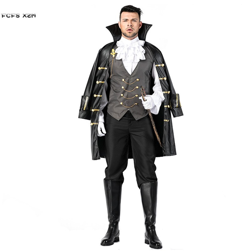 Men Noble Knight Pirate Cosplay Halloween Dracula Vampire Costume Carnival Purim Masquerade Stage play Nightclub Bar