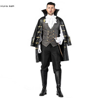 Men Noble Knight Pirate Cosplay Halloween Dracula Vampire Costume Carnival Purim Masquerade Stage play Nightclub Bar party dress