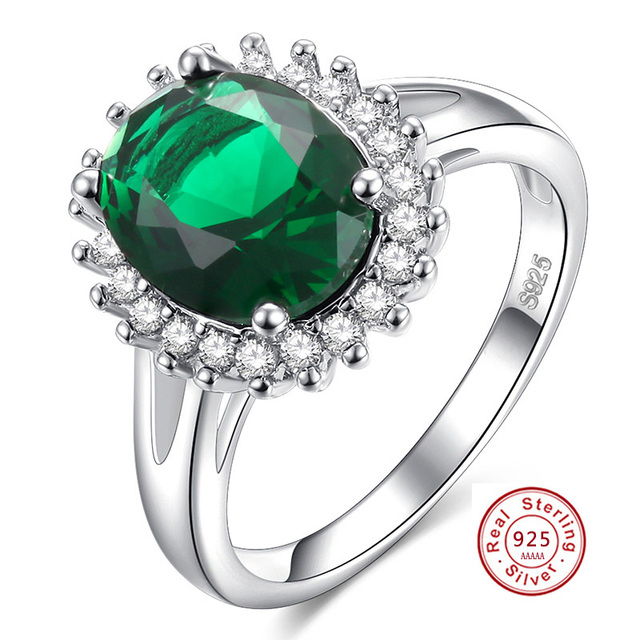Top Quality Princess Ellipse green Gem Created white Crystal 925 Silver Wedding Finger Crystal Ring Brand Jewelry for Women