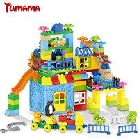 Grande Taille Blocs de Construction 160 pcs Parc D'attractions Modèle de Construction Jouets Grande Taille Enfants Jouet Éducatif Compatible avec Legoed Duplo
