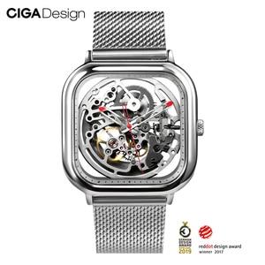 Image 4 - CIGA Reloj de pulsera mecánico ahuecado, de acero inoxidable, de lujo, automático