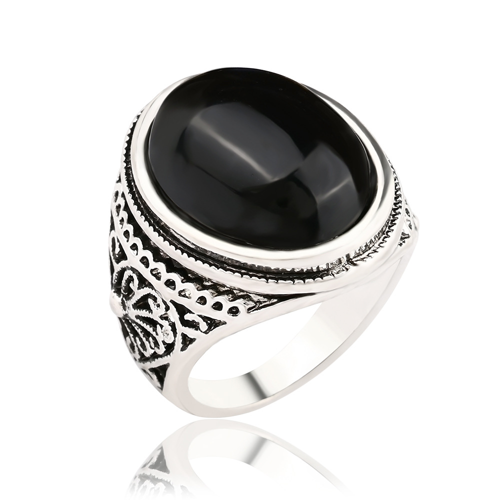 Red Black Agate Mens Ring