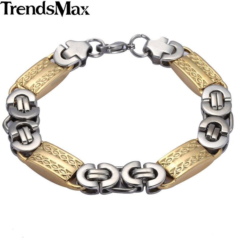 371a0c4dffb Trendsmax Homens Pulseiras de Prata de Alta Qualidade Pulseira de Aço  Inoxidável Ligação Bizantino dos homens Jóias 11mm 8 9 KB407