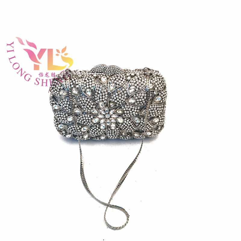 Clutch Evening Bags Silver Best Made Women Trendy Crystal Clutches Evening Ladies Rhinestone Evening Clutch Purse YLS-F50 цена и фото