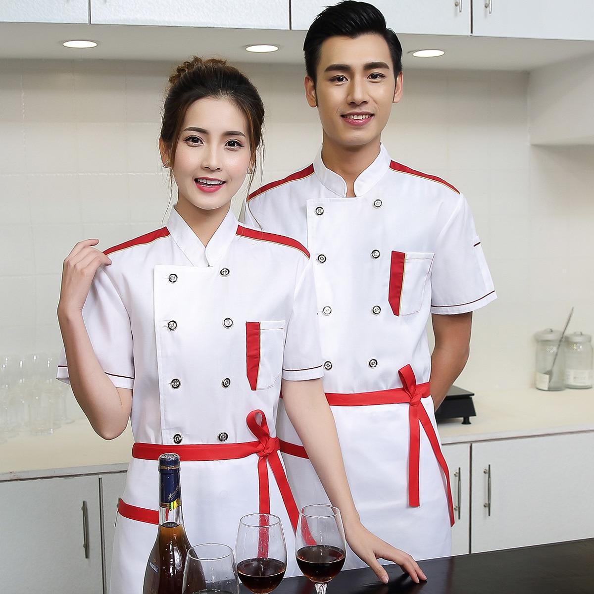 Aliexpress.com  Comprar Chef Wear de manga corta uniforme de verano hotel  restaurante cocina ropa camareros uniformes restaurante ropa de trabajo  global ... 8239f8bd931