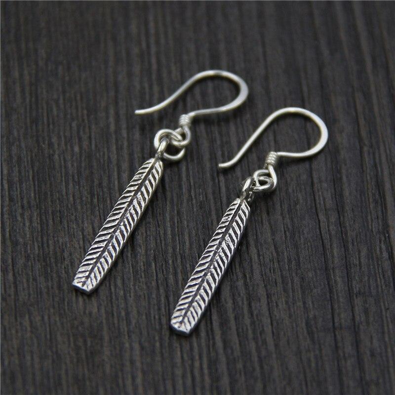 C&R Real 925 Sterling Silver Earrings for Women Long Leaf Thai Silver Drop Earrings Handmade Vintage Fine Jewelry