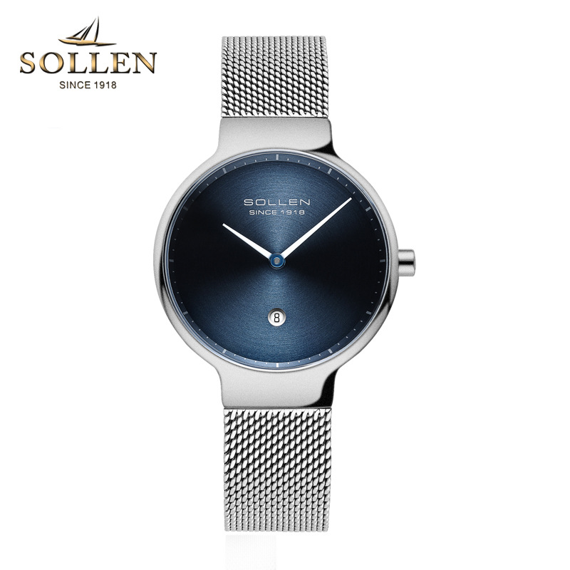 SOLLEN Top Luxury Brand Watch Women Fashion Simple Style Ultra thin Clock Female Quartz-watch Full steel mesh Band Wristwatches top luxury brand quartz watch women simple dress casual japan rose gold stainless steel mesh band ultra thin clock female unisex