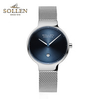 SOLLEN Top Luxury Brand Watch Women Fashion Simple Style Ultra thin Clock Female Quartz watch Full steel mesh Band Wristwatches