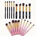 Vander Pink/Black Professional 10pcs Set Kabuki Make Up Cosmetics Eyeliner Eyebrow Lip Blending Foundation Makeup Blushes Kits
