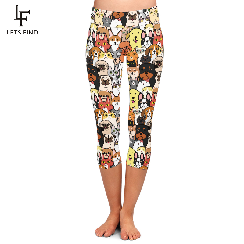 LETSFIND High Elastic Women Capri Leggings Seamless Cute Animals Cartoon Dogs Print High Waist Plus Size Casual Mid-Calf Pants