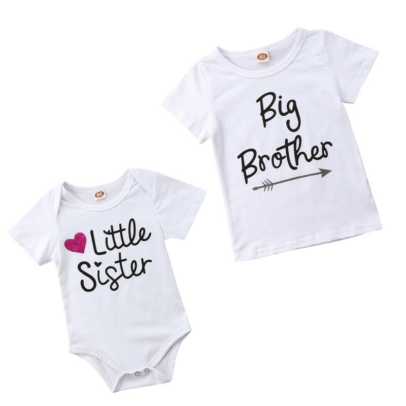 Summer Kids Clothes For Age 0-5T Baby Short Sleeve Little Sister Bodysuits Jumpsuits Big Brother Cotton T-shirt Tee