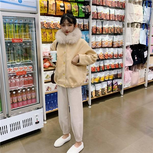 Femme Renard Nouveau Hiver De Matelassé Fourrure 2018 1 breasted Col Mode Laine Coréenne Chaud 2 Lâche Single Manteau pqUY4qx