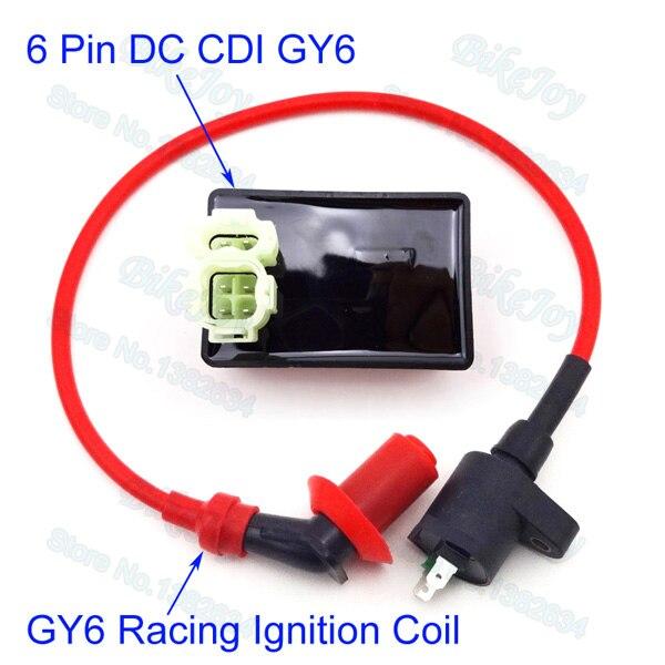 performance 6 pin dc cdi box racing ignition coil for kymco symwydajność 6 pin dc pole racing cdi cewka zapłonowa dla sym vento kymco skuter gy6 50cc