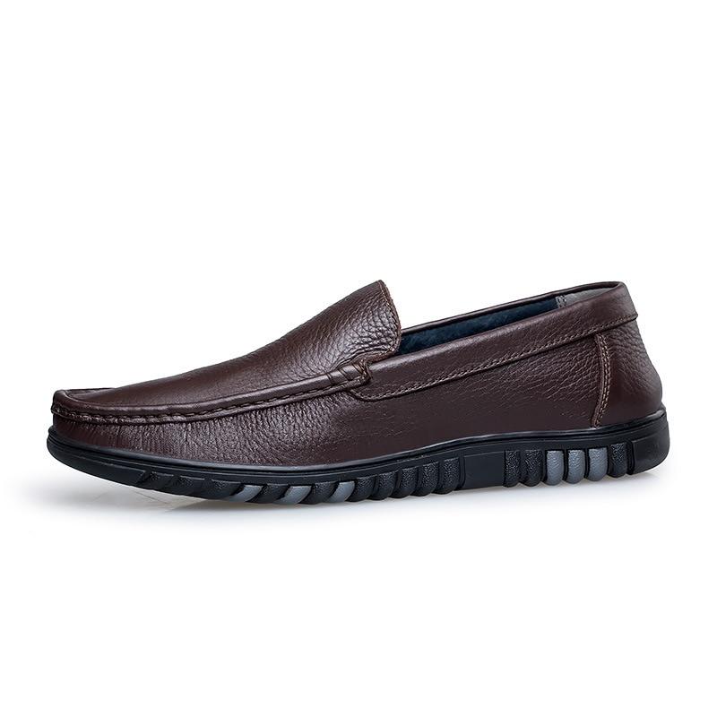 kaki Cuir De kaki Loisirs Lacets Mocassins Solide Conduite Autumm Foncé Hommes Chaussures gris Concise Noir En Sans Plates T31clFJK