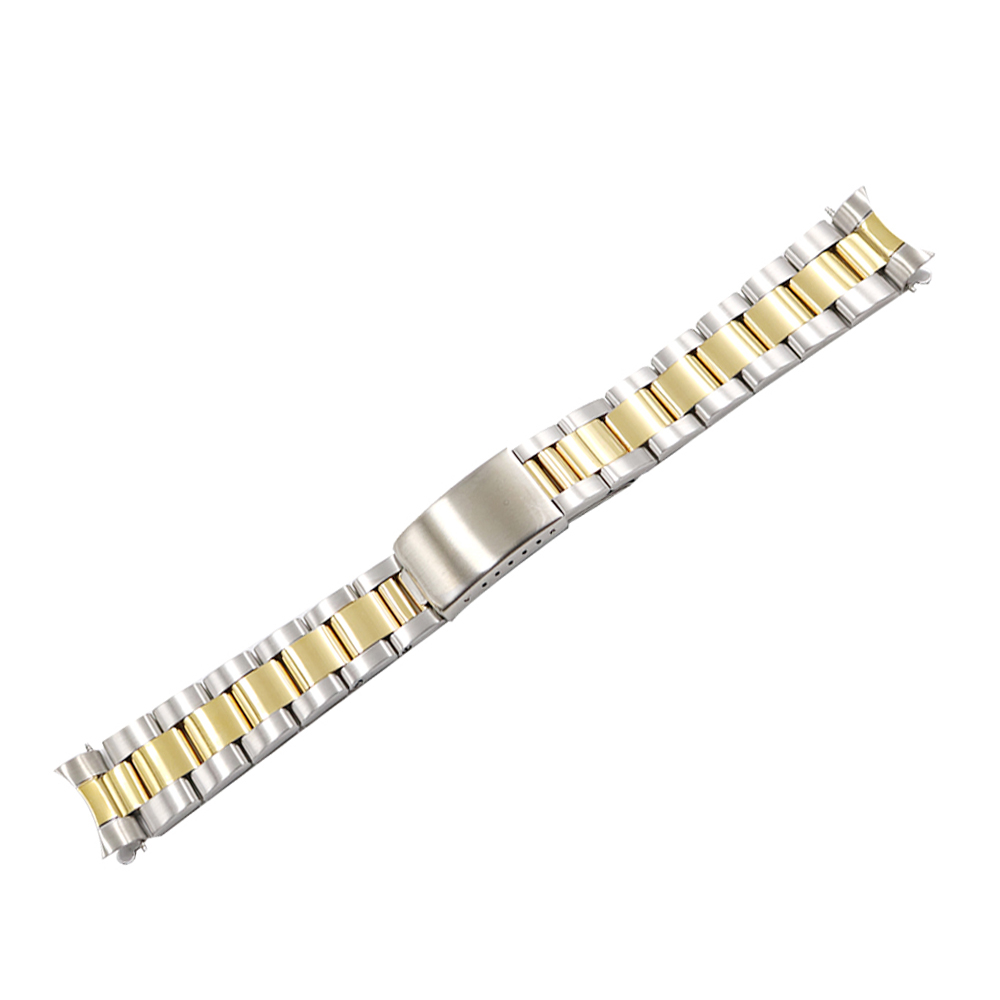 CARLYWET 13 17 19 20mm 316L Stainless Steel Two Tone Rose Gold Silver Watch Band Strap Oyster Bracelet For Datejust