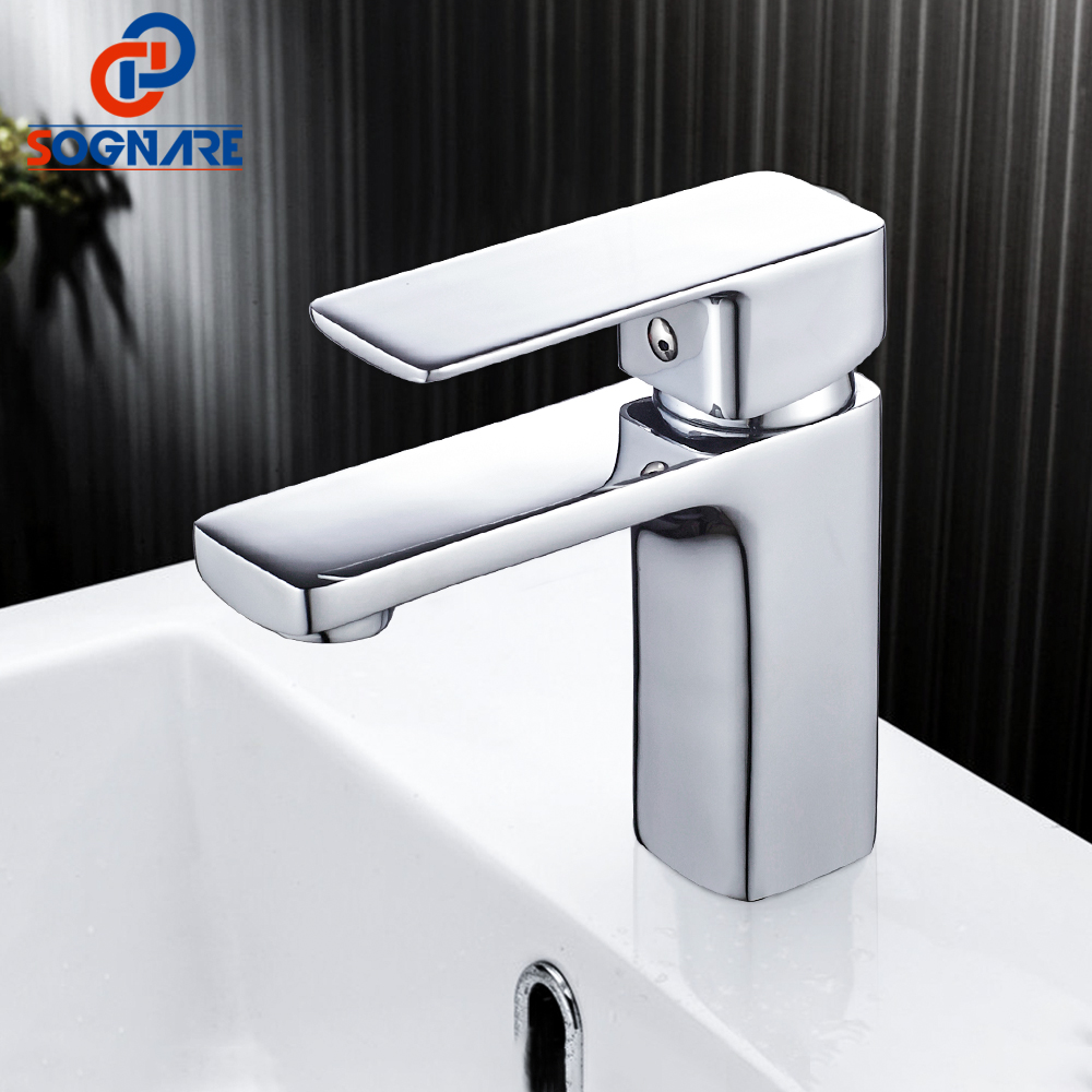 SOGNARE Chrome Bathroom Basin Sink Faucet Single Handle Single Hole Sink Mixer Tap Cold and Hot Bathroom Vanity Water Crane Tap bathroom sink faucet single handle mixer tap hot and cold water mixer tap nickel brushed
