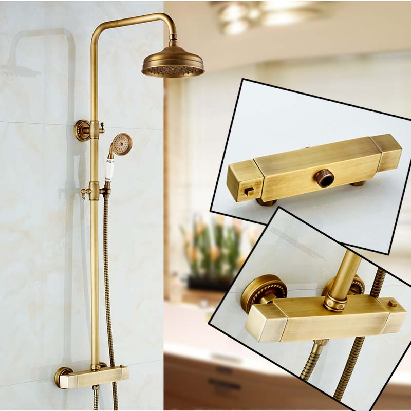 Wall Mount Bathroom Thermostatic Shower Set Faucet Two Handles Wall Mount Outdoor Hot and Cold Shower Mixer Taps china sanitary ware chrome wall mount thermostatic water tap water saver thermostatic shower faucet