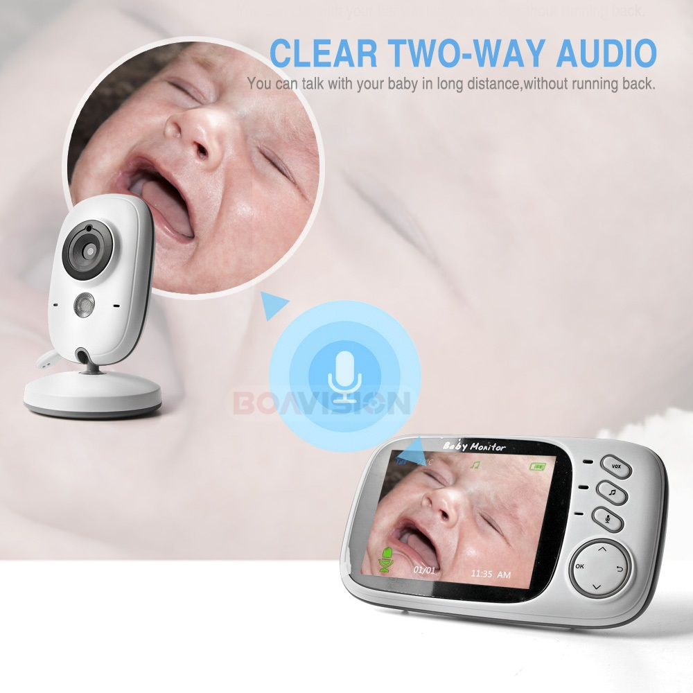 Image 3 - 3.2 Inch Color LCD Wireless Video Baby Monitor Night Vision 5m Nanny Monitor Bebek Lullabies Surveillance Security Camera VB603-in Baby Monitors from Security & Protection