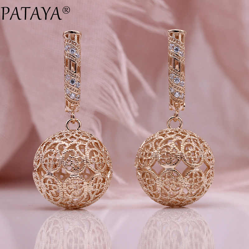 PATAYA New Big Pattern Hollow Long Earrings 585 Rose Gold Women Fashion Jewelry White Natural Zircon Carved Unique Drop Earrings