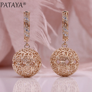 PATAYA New Big Pattern Hollow Long Earrings 585 Rose Gold Women Fashion Jewelry White Natural Zircon Carved Unique Drop Earrings(China)