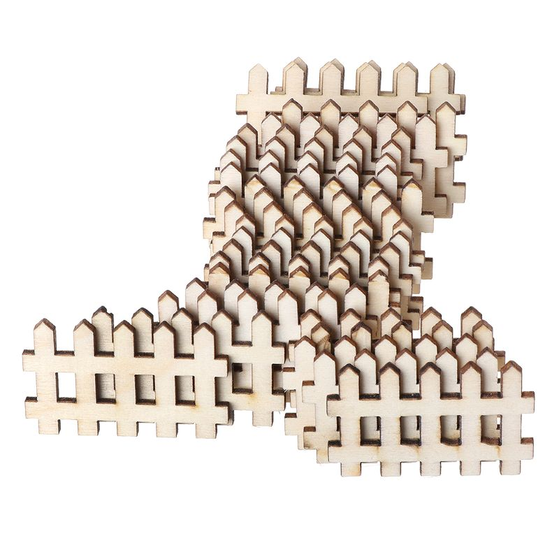 25pcs Laser Cut Wooden Fence Embellishment Wooden Shape Craft Wedding Decor